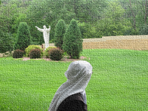 Image of Discalced Carmelite novice at prayer